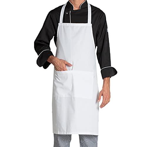 La Pajarita 4 Delantales de cocina hombre Blancos con 2 bolsillos, Delantal para camareros, Delantal para hostelería , barbacoas, chefs