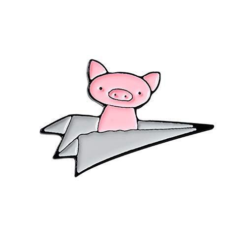Elibeauty Paper Airplane Piggy Enamel Lapel Pin Cute Animal Brooch Badge Fashion Cartoon Pig Pin Gift For Friends Wholesale Jewelry|brooch(grey)