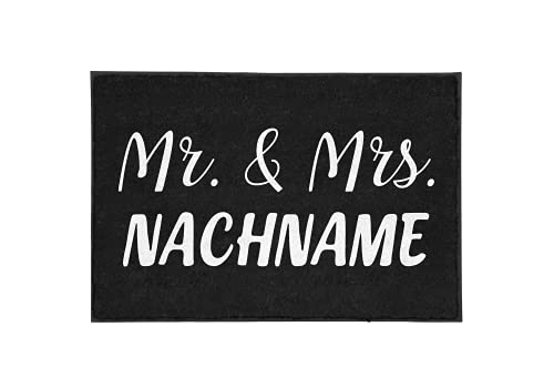 TassenTicker - Personalisierte Fußmatte Mr & Mrs.(Ihr Wunschname) innen & außen - waschbar - schmutzfangmatte - personalisiert - Willkommen - Hochzeit - Hochzeitsgeschenk