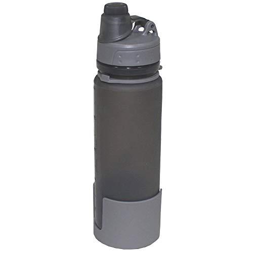 MFH 33173. Botella de silicona plegable. 0.5 litros. Gris.  Herramienta para Caza, Pesca, Camping, Outdoor, Supervivencia