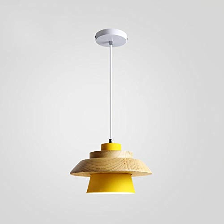 Einfache postmoderne hngende Leuchte, einstellbare bunte hlzerne Innenleseleuchte-Beleuchtung, für Schlafzimmer-Wohnzimmer-Restaurant-Bar-Eisen-E27-Decken-Hngelampe (Farbe   Gelb)