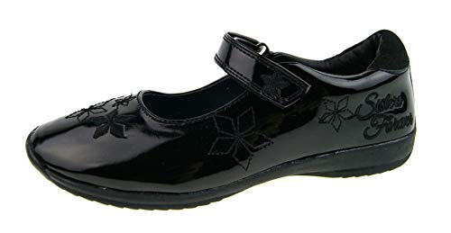 Disney Kids Girls Black Frozen School Shoes Black Flower EU 29