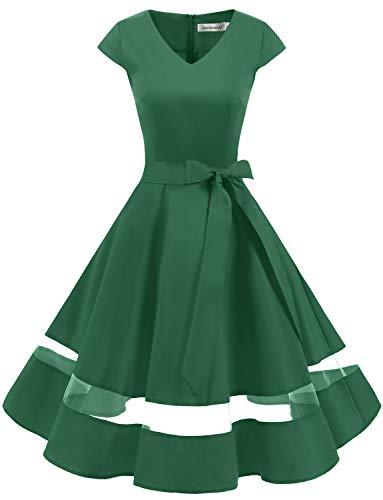 Gardenwed Vintage Vestidos Coctel Corto 50s Vestido de la Fiesta para Mujer Green L