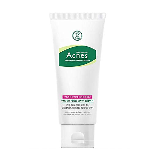 [Acnes]Perfect Solution Foam Cleanser - Acne Eliminating Face Cleanser, Balance Oil Cleansing Water with Tea tree, Centella Asiatica for Oily and Sensitive Skin Korean Skincare #Dab1164