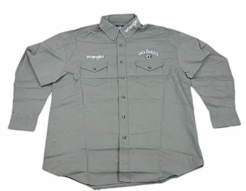 Men's Wranger Jack Daniel's Logo Button Up Long Sleeve Shirt (X-Large) Gray
