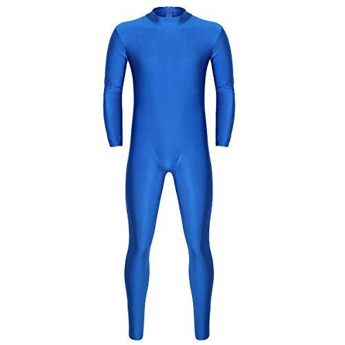 FEESHOW Men's High Neck Zip One Piece Leotard Bodysuit Stretchy Unitard Costume Blue X-Large