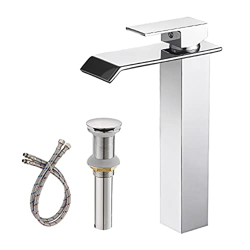 Greenspring Vessel Sink Faucet Chrome Pop Up Drain Assembly Without Overflow and Supply Hose Lead-Free Lavatory Waterfall Single Handle One Hole Mixer Tap Tall Body