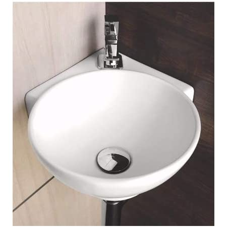 Small Corner Wall Mount Bathroom Sink White Ceramic With Center Faucet Hole 16 X 13 X 5 Inches White