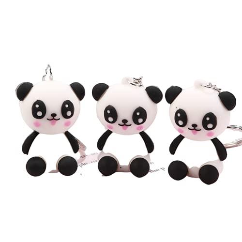 rickie_cao Dibujos animados lindo Panda llavero muñeca llavero regalo para mujeres niñas bolso colgante figura encantos llaveros joyería regalo