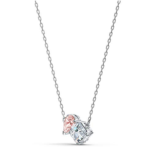Swarovski Attract Soul Pendant Necklace, Teardrop and Square-Shaped Swarovski Crystals, White and Rose Coloured Stones on a Rhodium Plated Chain, Part of the Swarovski Attract Soul Collection