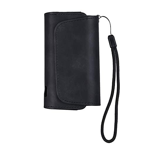 DrafTor E Zigarette Tasche für i-q-o-s 3.0, Schutzhülle aus PU Leder mit Reißverschluss und Verbindungsmittel (nur Tasche)(schwarz)