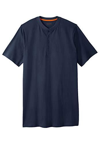 Boulder Creek by Kingsize Men's Big & Tall Heavyweight Longer-Length Short-Sleeve Henley Shirt - Big - 4XL, Steel