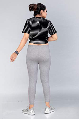 AJ Fashion Gym wear Leggings Ankle Length Free Size Combo Workout Trousers   Stretchable Striped Jeggings for Girls & Women Pack of 3(Free Size 26-36 inch Waist)
