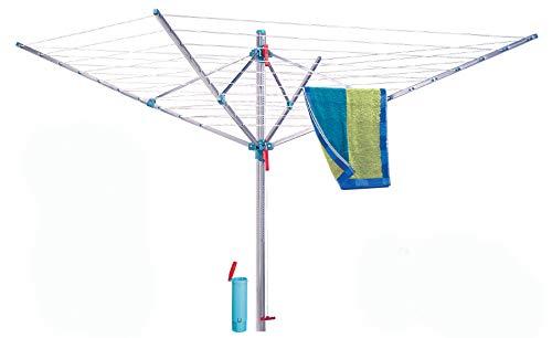 BLOME Wäschespinne Standard Medium Plus - Wäscheständer für den Garten inkl. Bodenhülse mit Deckel, Wäscheschirm mit 60m Wäscheleine, hochwertig & stabil, Made in Germany
