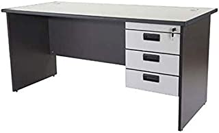 Mahmayi Grigio Office Desk with Fixed Drawers - Grey executive table with 2 Grommets for Wire Management - Includes 3 Draw...