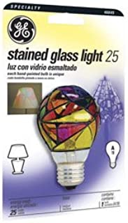 Ge Stained Glass Light Bulb Indoor 25 W A19 Med Base 4-1/4 In. Multicolored Carded