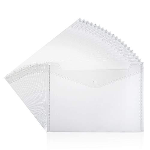 ZWOOS Dokumententaschen A4 Transparent Dokumententasche Sammelmappemit Druckknopf (20 Stück)