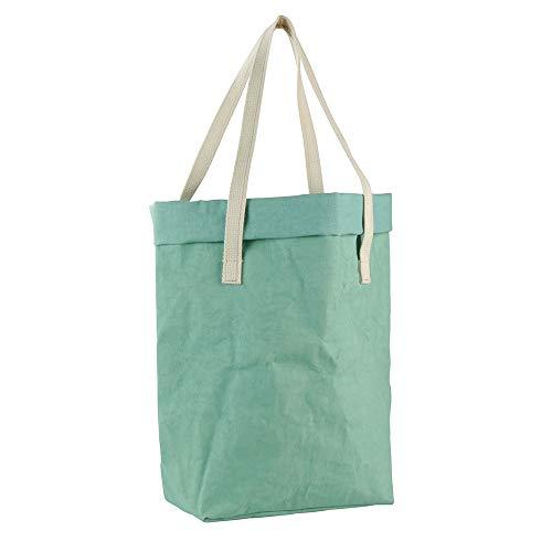 BIOZOYG Henkeltasche Milly XL aus waschbarem Papier 0,55 cm stark I Shopper-Tasche groß - 29 x 40 cm Natural Mint