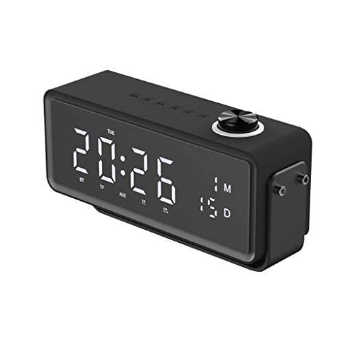 Portable Bluetooth Speaker Wireless Stereo Speaker Ondersteuning TF AUX wekker voor Telefonie Informatica, Black