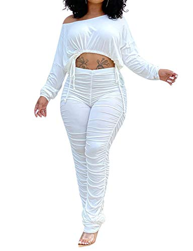 Women's Sexy 2 Pieces Workout Outfit Off Shoulder Long Sleeve Crop Top Stacked Pants Set Tracksuit Sportswear White XL