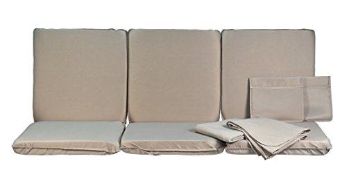 Stiliac 9601T322 Set Cuscini  e Tettuccio  Ricambio per Dondolo 4 Posti, Grigio, 174x58x8 cm