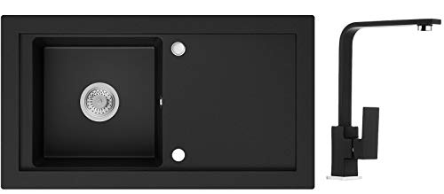 Küchenspüle Schwarz 89 x 49,5 cm, Spülbecken + Wasserhahn Küche + Siphon, Granitspüle ab 60er Unterschrank in 5 Farben mit Armatur Varianten, Einbauspüle von Primagran
