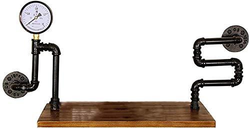 ZHJBD Verkaufsständer für Heimtextilien/Wasserrohr-Gestell Massivholz-Wort Regal Retro Dekoration Industrie Wind Old Racks Wandbehang Schmiedeeisen Bücherregal (Größe: Style B) (Size : Style A)