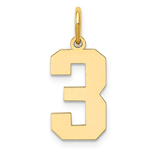 14k Yellow Gold Medium Number 3 Pendant Charm Necklace Sport Fine Jewelry For Women Gifts For Her