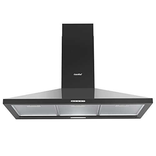 COMFEE' 90 cm Chimney Cooker Hood PYRA17B-90 Extractor Hood with LED and Recirculating & Ducting System Wall Mounted Range Hood 900 mm Extractor Fan - Black
