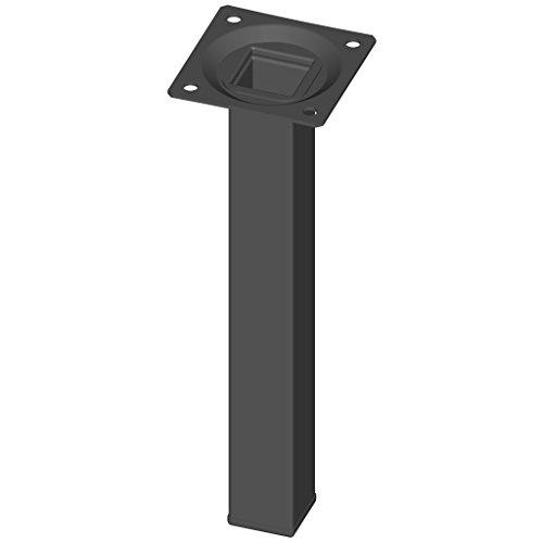 Element System 4 piezas de pata de tubo de acero de tipo cuadrado, patas de mesa, patas de mueble incluyendo placa para atornillar, 4 colores, 10 tamaños, 20 cm, negro, 18133-00293