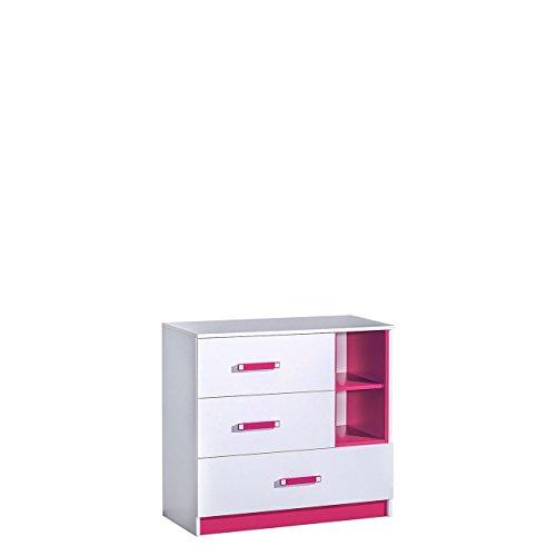 Mirjan24 Kommode 90 Trafiko TR08 mit 3 Schubladen, Schubladenkommode, Sideboard, Highboard, Mehrzweckschrank für Jugendzimmer, Farbauswahl (Weiß/Weiß + Rosa)