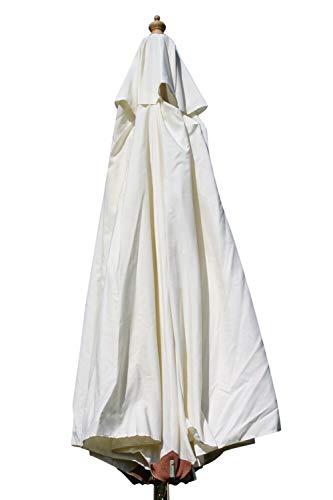 Gartensonnenschirm in Spitzenqualität aus Hartholz - 3m Spannweite - 8 Farben zur Auswahl (Creme)