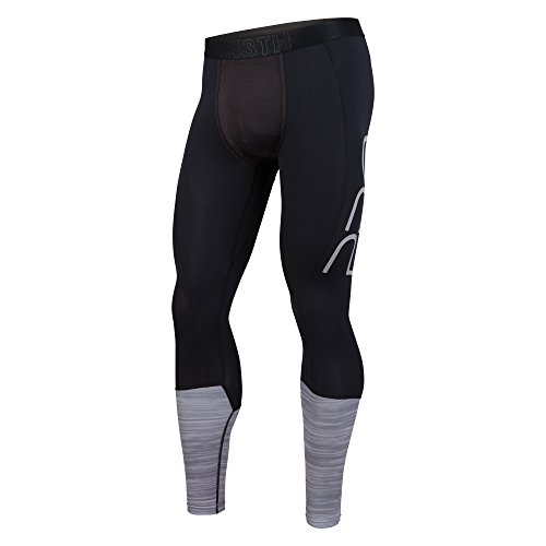 BN3TH Premium Men's Pro Active Compression Full Length Base Layer Tights, with 3D Support Pouch and Seamless Pucker Panel, Reduces Fatigue, Aids Recovery, Small, Black Heather