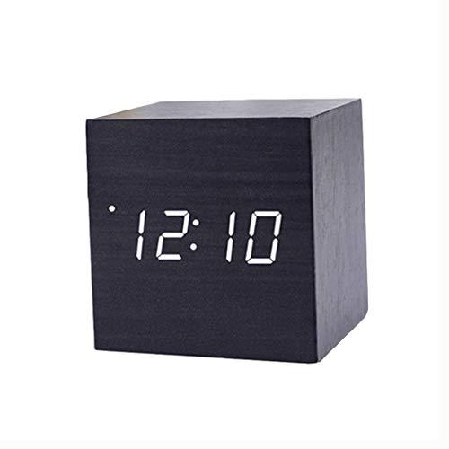 A-Nice Respectueux de l'environnement Horloge en Bois LED Mini Horloge électronique silencieuse Décorations de Bureau Fonctions Multiples Mode de Commande vocale pour Le Chevet (Bureau)