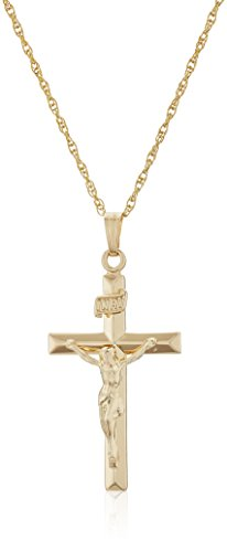 Men's 14k Gold Filled Solid Beveled Edge Embossed Crucifix Cross with Gold Plated Stainless Steel Chain Pendant Necklace, 18'