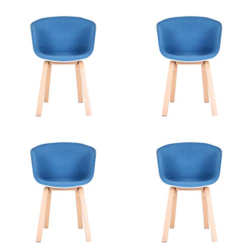 Sillas de comedor para escritorio de cocina, dormitorio, sala de estar, tocadores, sillas de oficina, sala de espera, sillas al aire libre, juego de 4 (azul, 4)