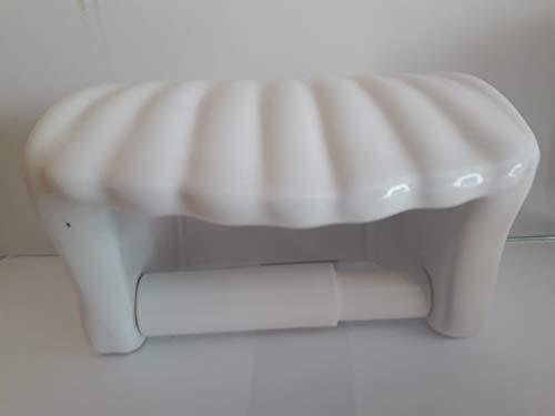 Wiegand Toilettenpapierhalter aus Keramik in Form Einer Muschel Dekor weiß