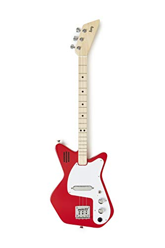 Loog 3-String Pro Electric Guitar and Accompanying App, Built-in Amp, Lessons, Recommended Ages 8+ (Red)