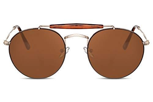 Cheapass Gafas de Sol Sin Montura Pequeñas Redondas Gafas Piloto con Puente Dorado de Diseñador y Cristales Marrones Hombre Mujer Protección UV400