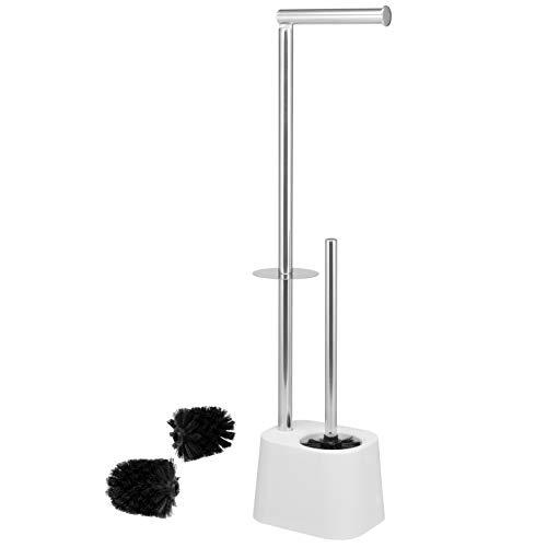 bremermann WC-Garnitur 3in1 inkl. Rollenhalter, WC-Bürste und Ersatzrollenhalter | Edelstahl rostfrei, inkl. 2 Ersatzbürstenköpfe | WC-Ständer (Weiß)