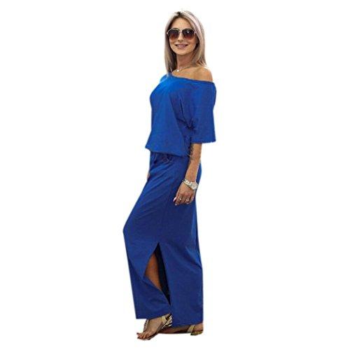 Damen Kleider, GJKK Damen Sommerkleid Lange Maxi Boho Elegant Abendkleid Partykleid mit Tasche Trägerlos Split Maxikleid Cocktailkleid Schulterfreies Knielang Festlich Kleider (Blau, XL)