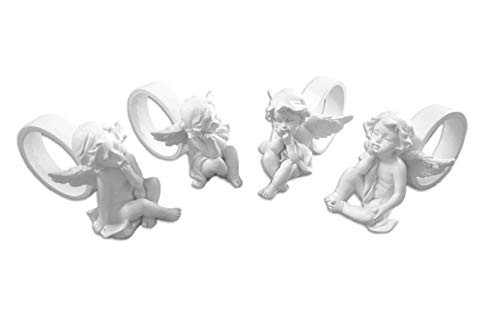 4 Engel mit Serviettenring Engelfigur ca. 8cm x 5cm Dekoration
