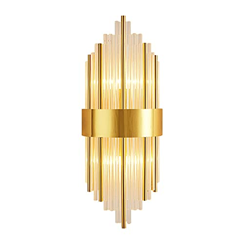 HJXDtech Moderne 2-flammige Kristall Wandleuchte, E14 LED Wandlampe Edelstahl Wand Nachttischleuchte für Schlafzimmer Wohnzimmer (Gold)