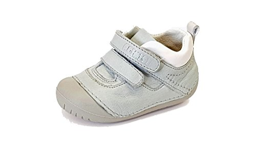 Primigi PLE 14004 lichtblauw/wit lederen jongen klittenband eerste schoen