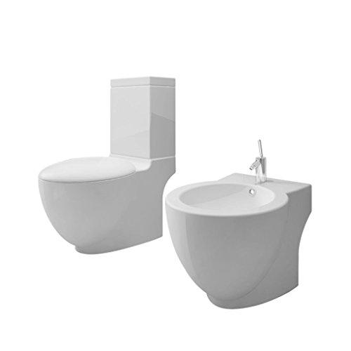 vidaXL Set de Inodoro y Bidé Suelo Pie Cerámica Blanco Váter WC Retrete Bidet