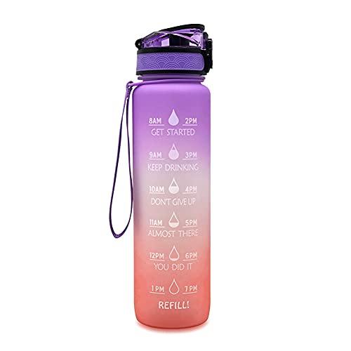 JPY Botella de agua de gran capacidad de 1 l con marcador de tiempo, a prueba de fugas, gimnasio, fitness, deporte, coctelera, botella de agua para camping, ciclismo, (rosa)