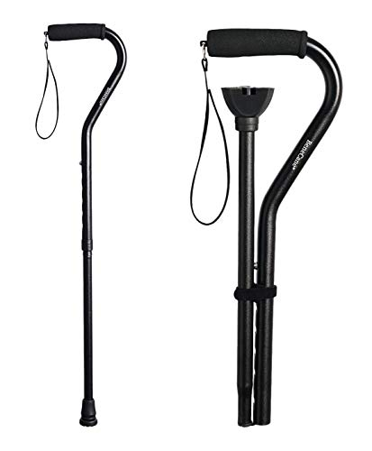 BeneCane Walking Cane for Men & Women Adjustable Cane with Offset Soft Cushioned Handle -Portable Lightweight Sturdy Mobility Walker Aid for Elderly, Seniors Collapsible Cane(Black)