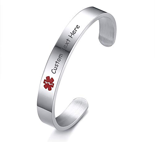 """XUANPAI Sliver Free Engraving Stainless Steel Medical Alert Bracelet Cuff Bangle for Women Grils,7.7"""""""
