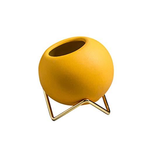 Heally maceta de cerámica para cactus, maceta de cerámica estilo nórdico, adorno de escritorio para decoración del hogar (naranja), amarillo