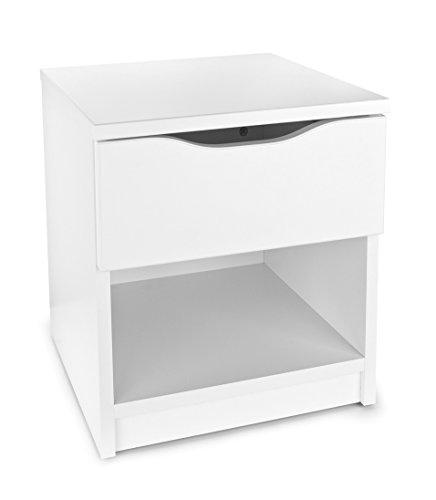 Leomark Nachtschrank für Kinder - Weiß Modern - Nachtschränkchen mit Schublade, Nachttisch aus Holz, Nachtkonsole, Höhe: 42 cm